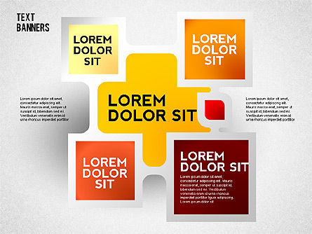 Text Banners with Shadow, 02508, Text Boxes — PoweredTemplate.com