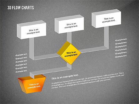 3D Flowchart Toolbox, Slide 11, 02530, Flow Charts — PoweredTemplate.com