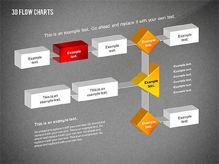 3D Flowchart Toolbox, Slide 12, 02530, Flow Charts — PoweredTemplate.com