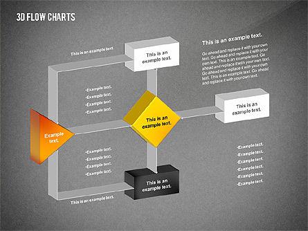 3D Flowchart Toolbox, Slide 13, 02530, Flow Charts — PoweredTemplate.com