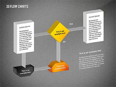 3D Flowchart Toolbox, Slide 14, 02530, Flow Charts — PoweredTemplate.com