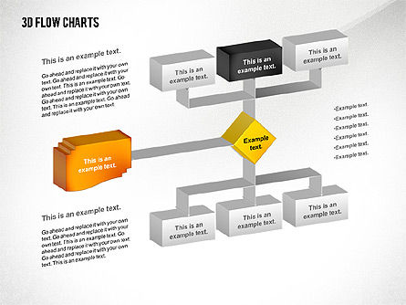 3D Flowchart Toolbox, Slide 2, 02530, Flow Charts — PoweredTemplate.com