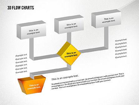 3D Flowchart Toolbox, Slide 3, 02530, Flow Charts — PoweredTemplate.com