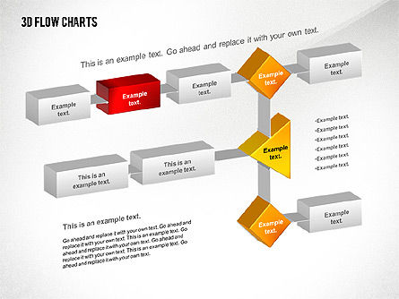 3D Flowchart Toolbox, Slide 4, 02530, Flow Charts — PoweredTemplate.com