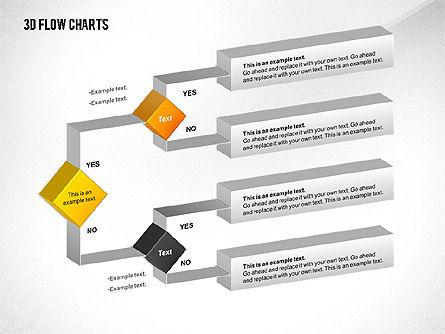 3D Flowchart Toolbox, Slide 8, 02530, Flow Charts — PoweredTemplate.com