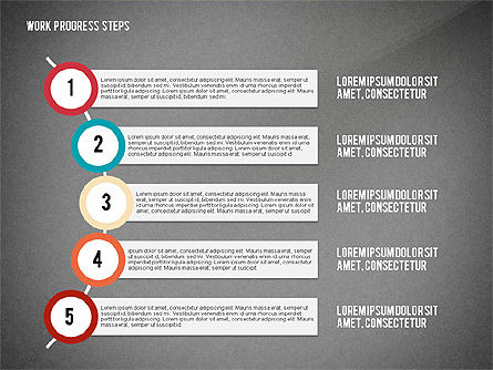 Work Progress Steps, Slide 15, 02533, Stage Diagrams — PoweredTemplate.com