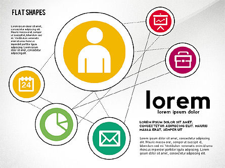 Network Concept with Flat Icons, 02540, Presentation Templates — PoweredTemplate.com