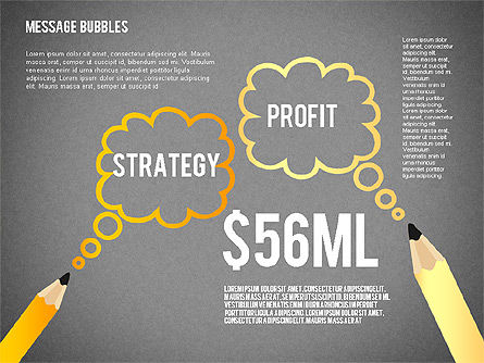 Presentation with Message Bubbles and Pencils, Slide 11, 02542, Presentation Templates — PoweredTemplate.com