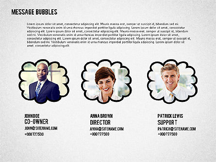 Presentation with Message Bubbles and Pencils, Slide 2, 02542, Presentation Templates — PoweredTemplate.com