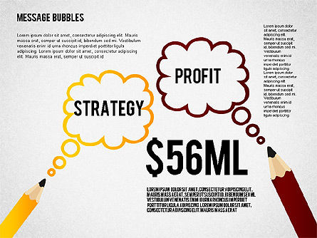 Presentation with Message Bubbles and Pencils, Slide 3, 02542, Presentation Templates — PoweredTemplate.com
