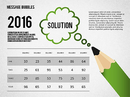 Presentation with Message Bubbles and Pencils, Slide 5, 02542, Presentation Templates — PoweredTemplate.com