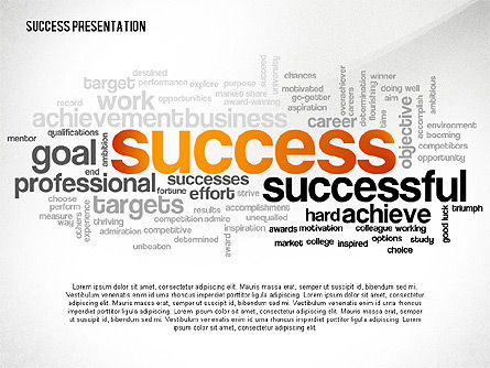 Presentation Templates: Success Word Cloud Presentation Template #02574