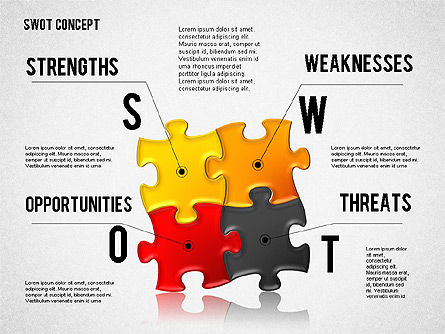 SWOT Analysis with Puzzle Pieces , Slide 3, 02593, Business Models — PoweredTemplate.com