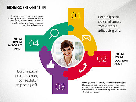 Company Presentation in Flat Design Style, 02594, Presentation Templates — PoweredTemplate.com
