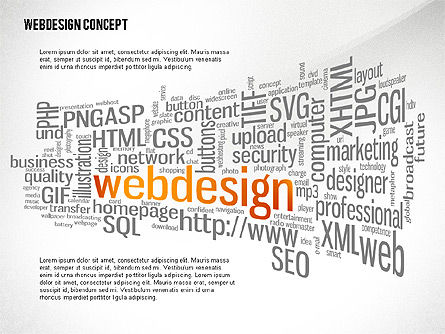 Presentation Templates: Webdesign Word Cloud Presentation Template #02605