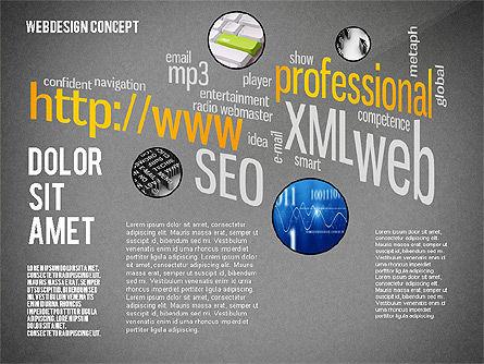 Webdesign Word Cloud Presentation Template, Slide 10, 02605, Presentation Templates — PoweredTemplate.com