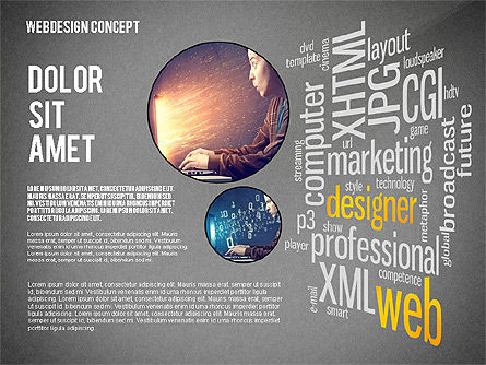 Webdesign Word Cloud Presentation Template, Slide 13, 02605, Presentation Templates — PoweredTemplate.com
