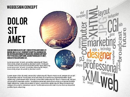Webdesign Word Cloud Presentation Template, Slide 5, 02605, Presentation Templates — PoweredTemplate.com