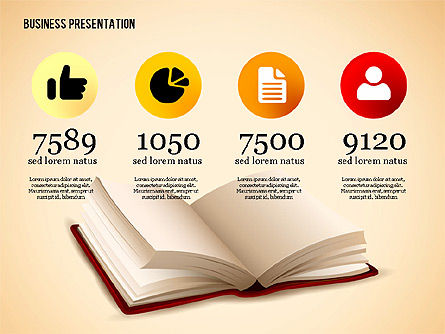 Book Presentation Template, Slide 2, 02634, Education Charts and Diagrams — PoweredTemplate.com