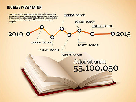 Book Presentation Template, Slide 3, 02634, Education Charts and Diagrams — PoweredTemplate.com