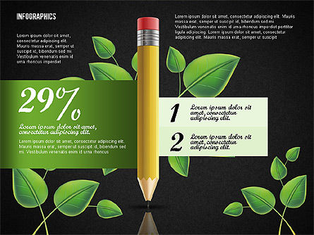 Options with Pencil and Green Leaves, Slide 10, 02641, Stage Diagrams — PoweredTemplate.com