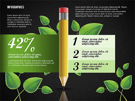 Options with Pencil and Green Leaves, Slide 11, 02641, Stage Diagrams — PoweredTemplate.com