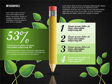 Options with Pencil and Green Leaves, Slide 12, 02641, Stage Diagrams — PoweredTemplate.com