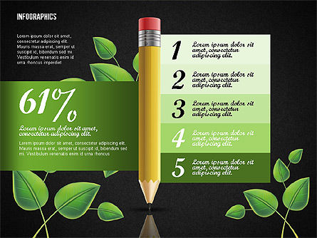 Options with Pencil and Green Leaves, Slide 13, 02641, Stage Diagrams — PoweredTemplate.com