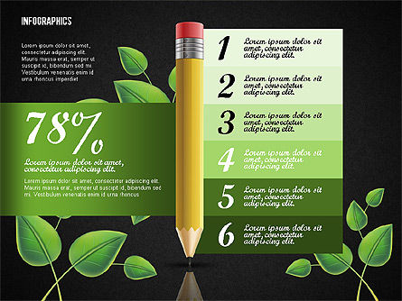 Options with Pencil and Green Leaves, Slide 14, 02641, Stage Diagrams — PoweredTemplate.com