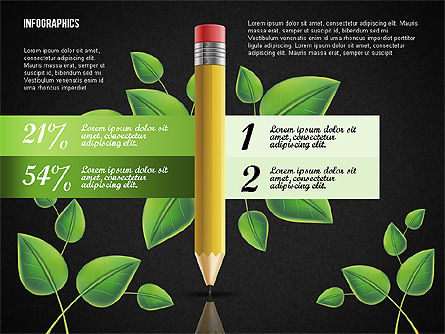 Options with Pencil and Green Leaves, Slide 15, 02641, Stage Diagrams — PoweredTemplate.com
