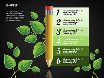 Options with Pencil and Green Leaves, Slide 16, 02641, Stage Diagrams — PoweredTemplate.com