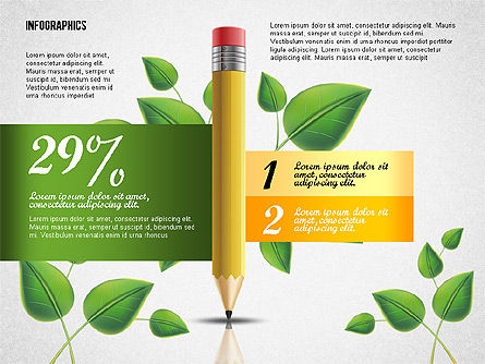 Options with Pencil and Green Leaves, Slide 2, 02641, Stage Diagrams — PoweredTemplate.com