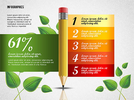 Options with Pencil and Green Leaves, Slide 5, 02641, Stage Diagrams — PoweredTemplate.com