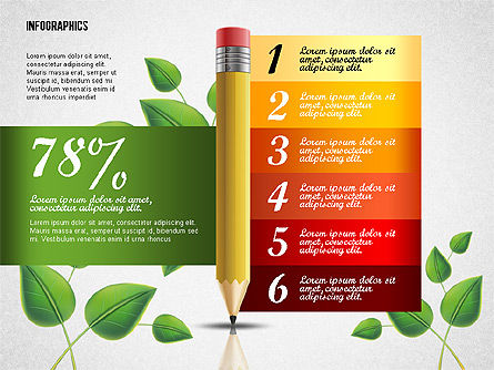 Options with Pencil and Green Leaves, Slide 6, 02641, Stage Diagrams — PoweredTemplate.com