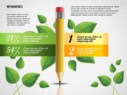 Options with Pencil and Green Leaves, Slide 7, 02641, Stage Diagrams — PoweredTemplate.com