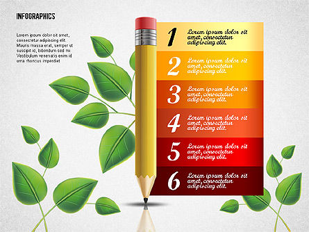 Options with Pencil and Green Leaves, Slide 8, 02641, Stage Diagrams — PoweredTemplate.com