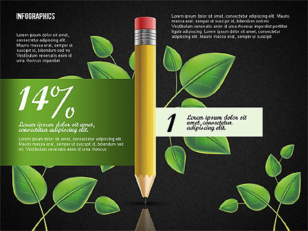 Options with Pencil and Green Leaves, Slide 9, 02641, Stage Diagrams — PoweredTemplate.com