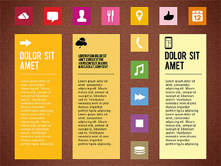 Flat Design Presentation Template with Icons, Slide 11, 02669, Icons — PoweredTemplate.com