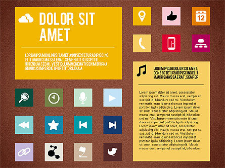 Flat Design Presentation Template with Icons, Slide 15, 02669, Icons — PoweredTemplate.com
