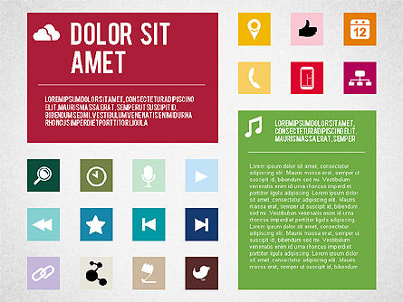 Flat Design Presentation Template with Icons, Slide 7, 02669, Icons — PoweredTemplate.com