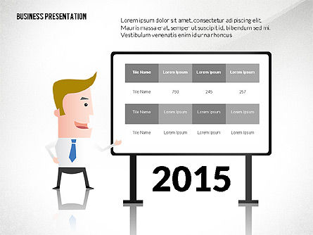 Presentation with Businessman Character, 02671, Presentation Templates — PoweredTemplate.com
