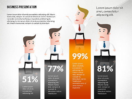 Presentation with Businessman Character, Slide 4, 02671, Presentation Templates — PoweredTemplate.com