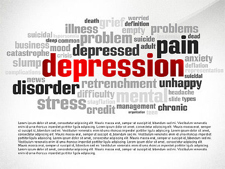 psychology symptoms word cloud presentation template for powerpoint, Presentation templates