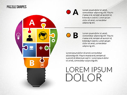 Puzzle Shapes with Icons, Slide 3, 02685, Puzzle Diagrams — PoweredTemplate.com