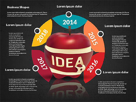 Infographics Stages with Apple, Slide 12, 02708, Stage Diagrams — PoweredTemplate.com