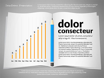 Data Driven Presentation with Book and Pencil, Slide 2, 02711, Data Driven Diagrams and Charts — PoweredTemplate.com