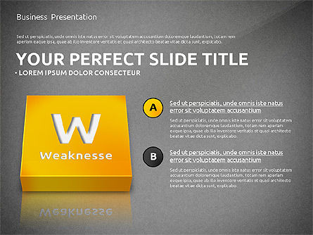SWOT Analysis with 3D Blocks, Slide 11, 02719, Business Models — PoweredTemplate.com