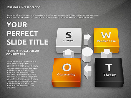 SWOT Analysis with 3D Blocks, Slide 16, 02719, Business Models — PoweredTemplate.com
