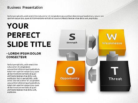 SWOT Analysis with 3D Blocks, Slide 8, 02719, Business Models — PoweredTemplate.com
