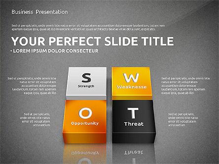 SWOT Analysis with 3D Blocks, Slide 9, 02719, Business Models — PoweredTemplate.com